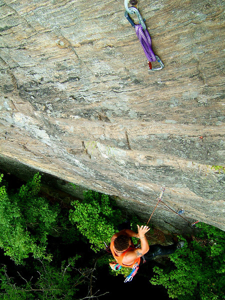 Kelsey puts in some air time on <i>Oz 5.11c</i> at the Emerald City Wall.