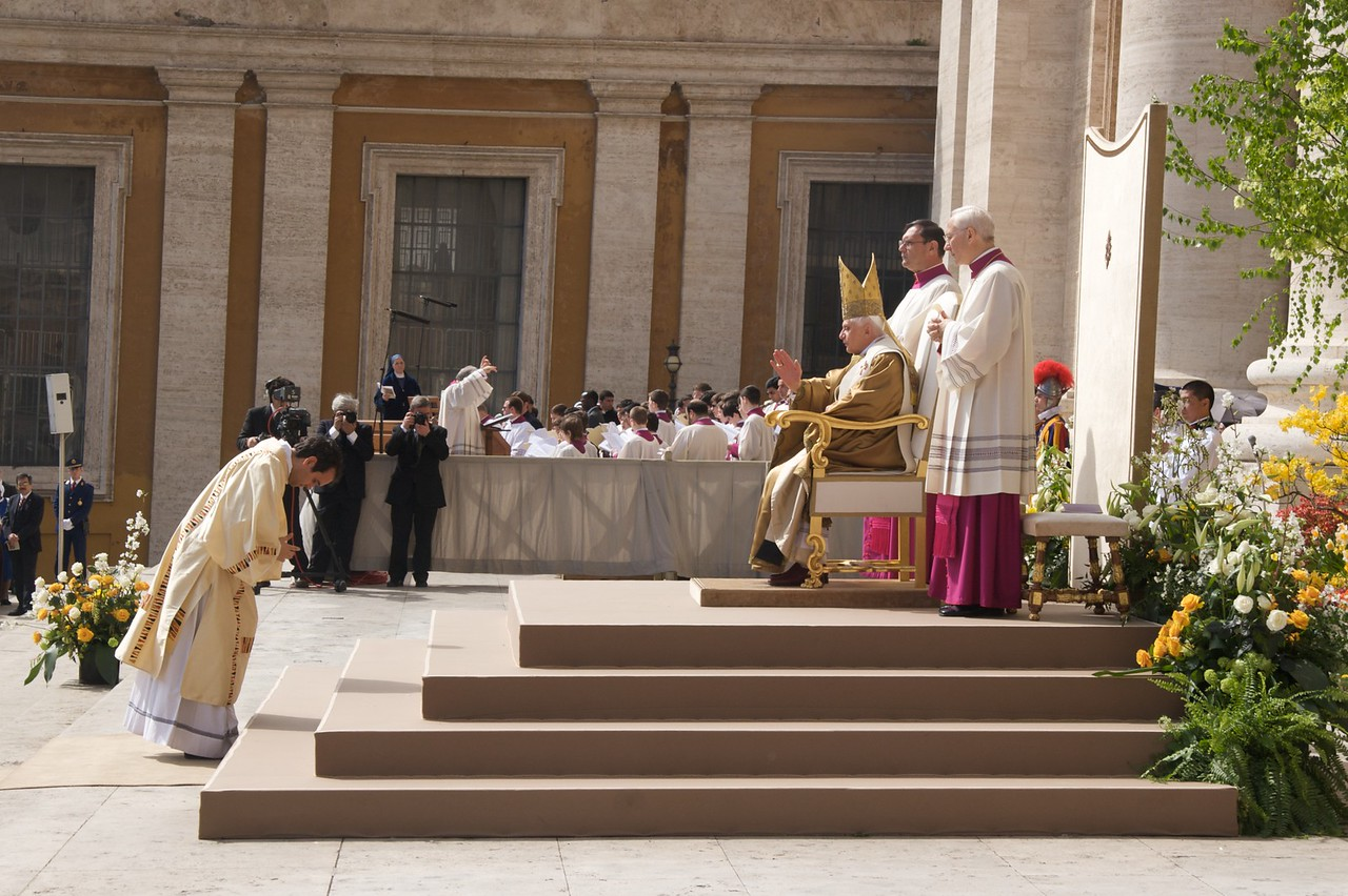 Blessing • The Pope blesses the Deacon who will sing the Gospel at the main mass in St Peter's Square on Easter Sunday morning.