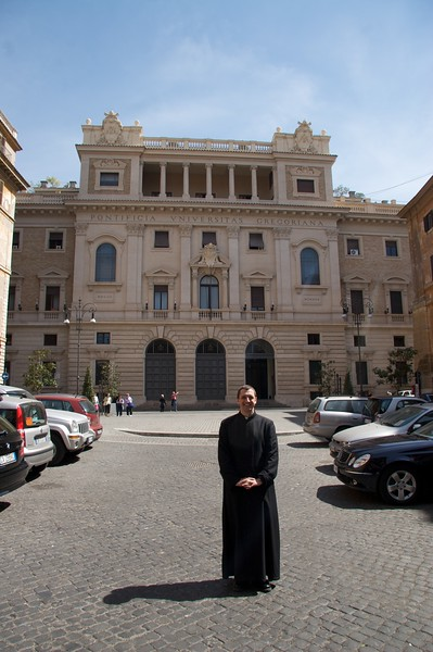 Outside the Gregorian • John stands outside the Pontifical Gregorian University.