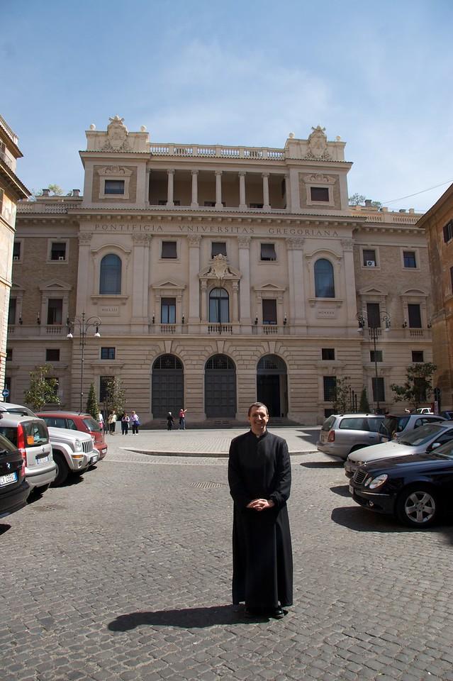 Outside the Gregorian • John stands outside the Pontifical Gregorian University.