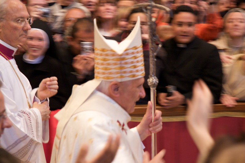 The Pope processes out of St Peter's Basilica after celebrating the Chrism Mass on Maundy Thursday. The aisle was of course lined with excited members of the Congregation.
