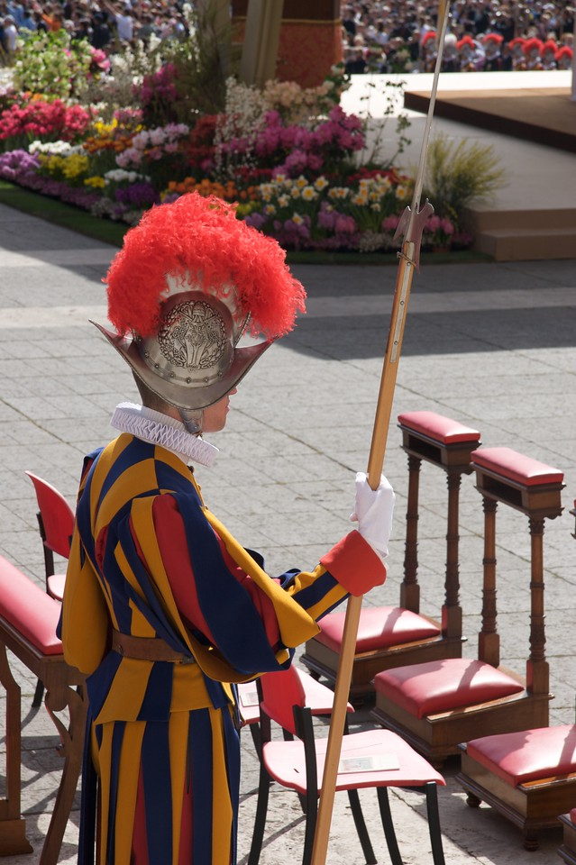 Swiss Guardsman • Another Swiss Guardsman stands to attention at the beginning of Mass.