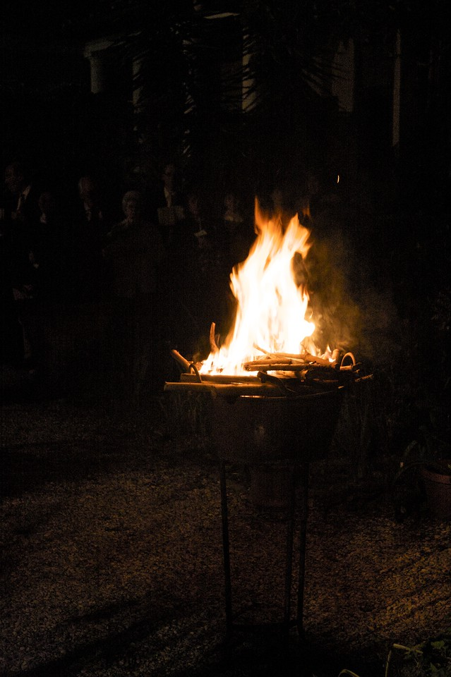 Paschal fire • The Paschal fire lit before the Service of Light which begins the Easter Vigil in the garden of the Venerable English College.