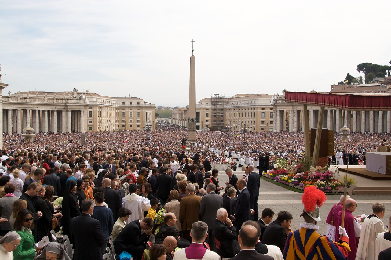 Crowds in St Peter's Square • A huge crowd filled St Peter's Square for the Pope's Mass on Easter Sunday.