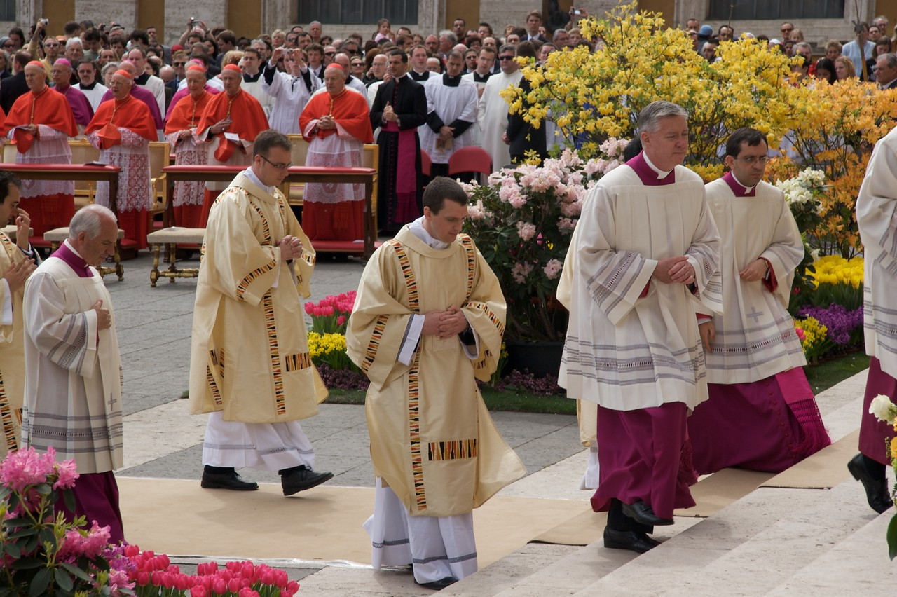 Procession out • John can be seen here processing out from the Pope's Mass on Easter Sunday.