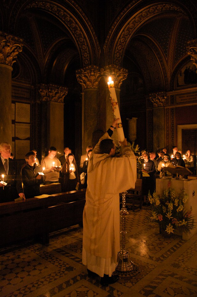 Arrival of the Light • John carries the Paschal Candle into the church of the English College.
