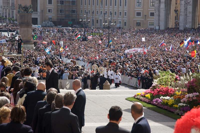 Procession • The front of the procession for the Papal Mass (including John) arrives at the foot of the steps to the sanctuary.