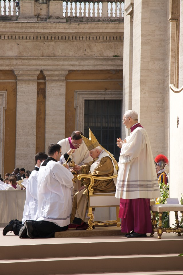 Incense for the Gospel • The Pope fills and blesses the thurible before the Book of the Gospels is incensed, which happens just before the Gospel is sung.
