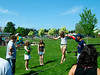 Spectators join in, getting their first steps on a slackline and having a good time.