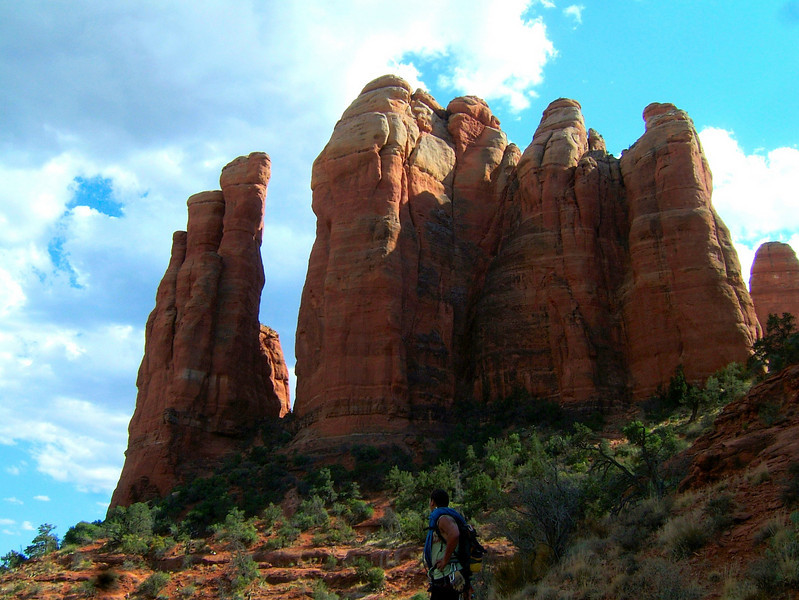 Our main goal in Sedona was to climb the Mace, a sandstone tower with some very cool and unique climbing.  The route climbs among the cluster of towers to the left of the big gap.