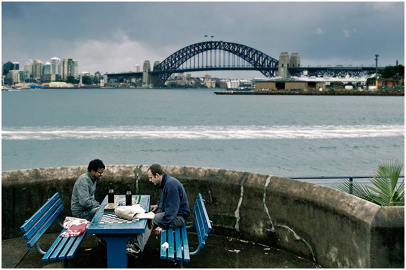 Balmain East, Sunday September 10th 2006. <br /> <br /> Beer and chess is a fine way of dealing with the wintry conditions across the city today. <br />  <br /> <br /> EXIF DATA <br /> Canon 1D Mk II. EF 17-35 f/2.8L@35mm 1/200s f/3.2 ISO 200.