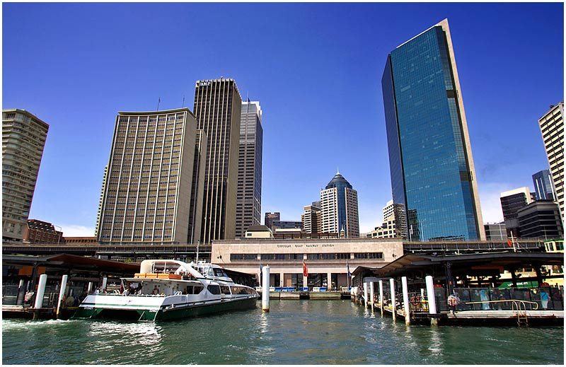 Circular Quay, Tuesday September 5th 2006. <br /> <br /> Circular Quay ferry terminal. <br /> <br /> <br /> EXIF DATA <br /> Canon 1D Mk II. EF 17-35 f/2.8L@17mm 1/200s f/11 ISO 200.