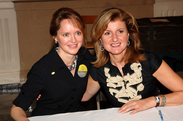"New York Junior League President Ms. Trisha Duval with author, Arianna Huffington at All Souls Church on the Upper East Side of Manhattan on Ms. Huffington's ""On Becoming Fearless"" book tour"