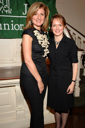 """Arianna Huffington & Trisha Duval, NYJL President at All Souls Church on the Upper East Side of Manhattan for Ms. Huffington's stop in New York City on her """"On Becoming Fearless"""" Book tour"""