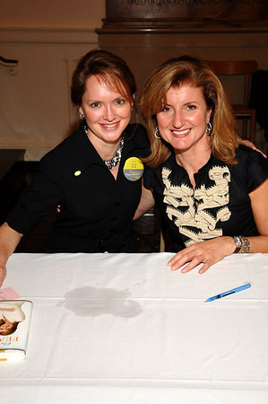 "New York Junior League President Trish Duval and author Arianna Huffington at All Souls Church on the Upper East Side of Manhattan for Ms. Huffington's first stop in New York City on her ""Fearless"" Book tour"