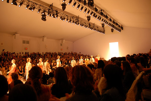 The view from Seat H-7-10. The First Fashion Show attended under the tents by Christopher London was appropriately that of legendary New York fashion designer Nicole Miller. Before I knew anything about fashion, I was aware of Nicole Miller. Nicole Miller embodies all that is wonderful and special about the New York Fashion Industry.
