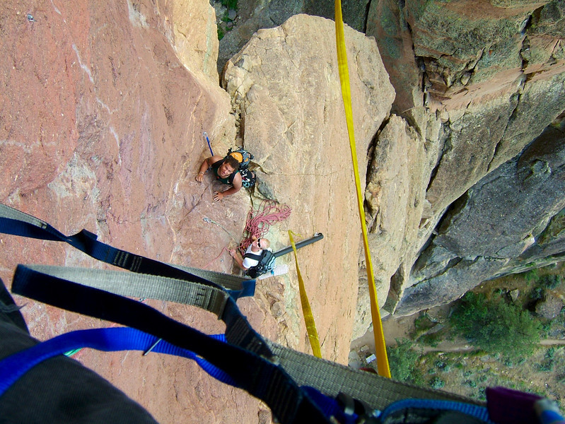 Kelsey and Casey and the second pitch of the <i>Pioneer Route 5.7 A1</i> on the Monkey.