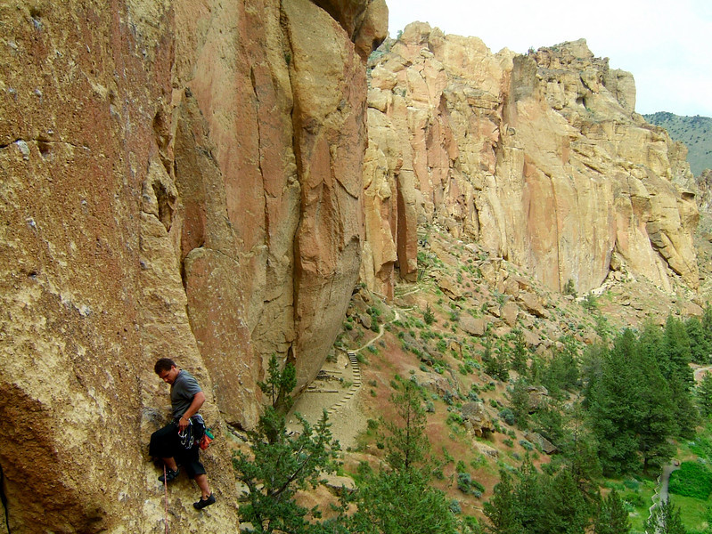 A view of the great climbing at Smith, with Kelsey just getting off the ground.