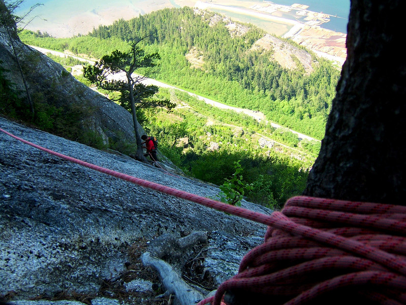 A tree lends a hand holding the rope on the first pitch of <i>Squamish Buttress 5.10c</i> as we near the top of the Chief.