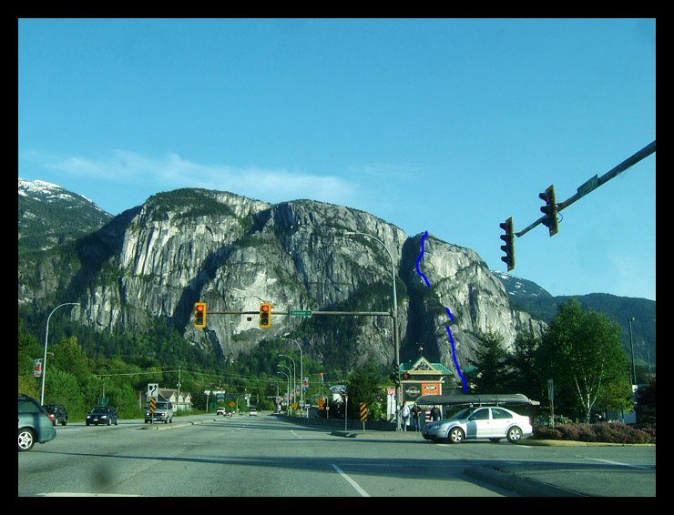 The Stawamus Chief, and one route we climbed to the top.
