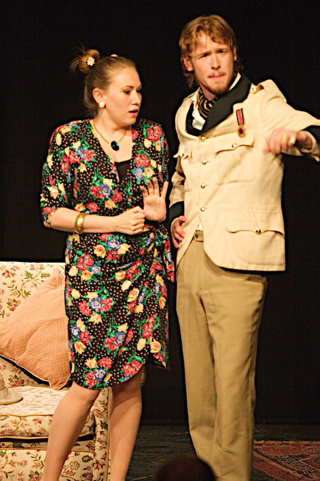 Sidling up to the Captain • Mrs Spottsworth (Jane Wilson) invades Captain Biggar (Mike Edwards)'s personal space as he tells her of his experience in the Far East.