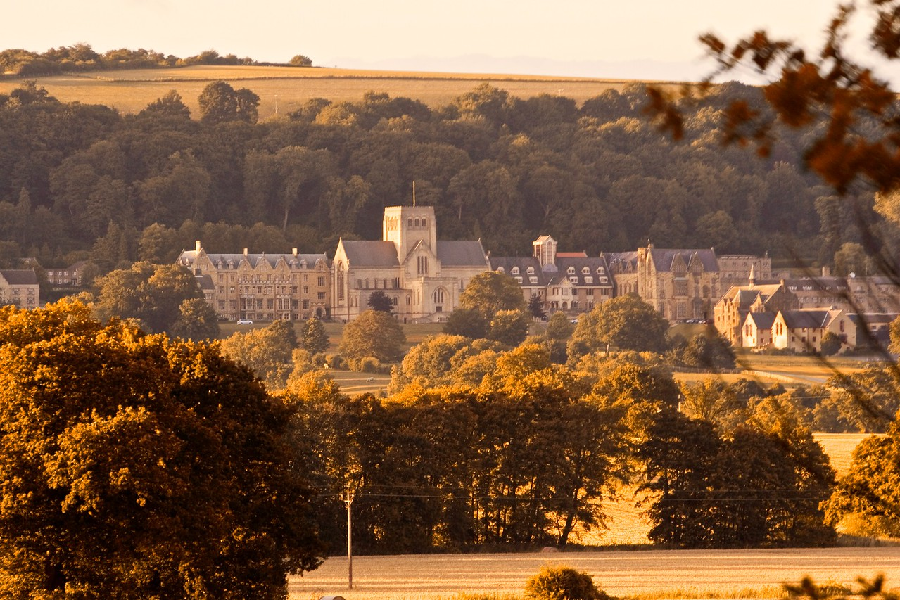 Good enough for a prospectus • Ampleforth Abbey and College at sunset, taken from across the valley at the lower lake in Gilling.