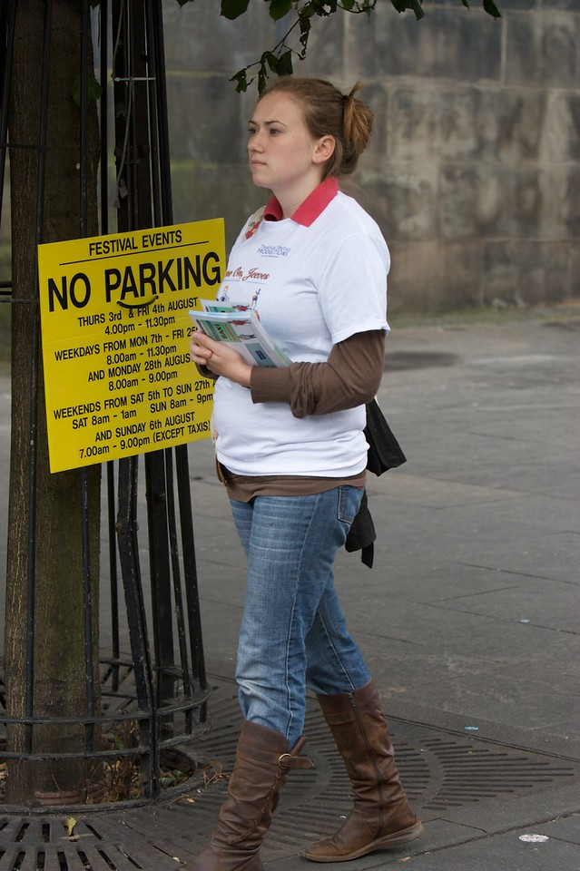 Flyering • Jane with a stack of fliers to hand out promoting our play on the Royal Mile. We would ultimately sell out at least sixty-five seats a day.