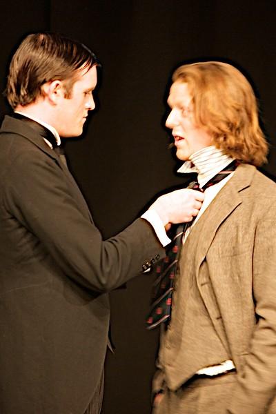 Straightening the tie • Jeeves (Binny) straightens Lord Towcester (Ben Dollard)'s tie.