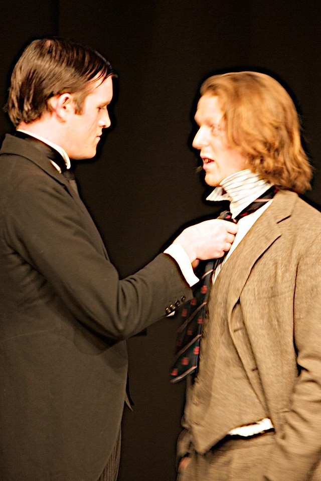 Straightening the tie • Jeeves (Binny) straightens Lord Towcester (Ben Dollard)'s tie.