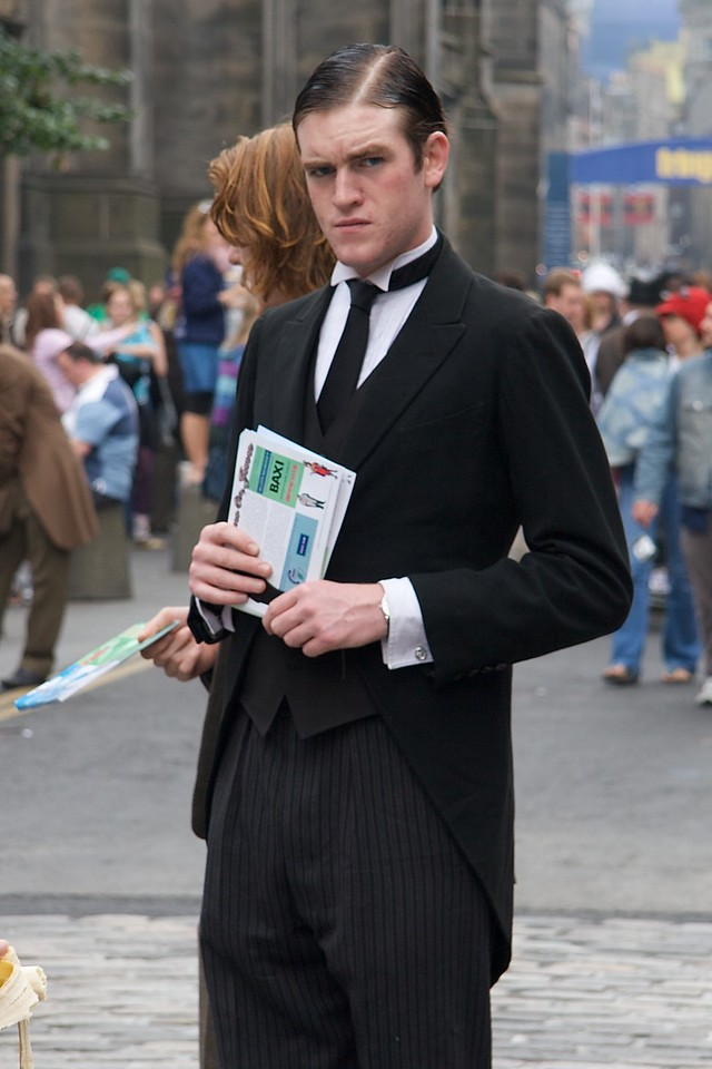 Jeeves • Binny wearing his costume to hand out fliers on the Royal Mile, looking particularly austere.