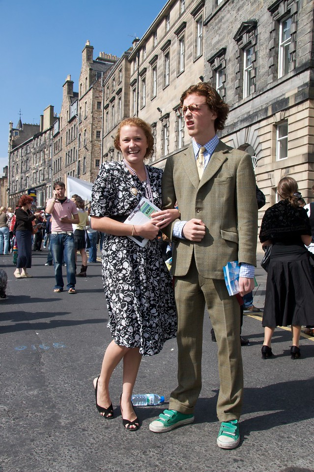 Carmoyles • Lord (Will Dollard) and Lady Carmoyle (Alice Robinson) on the Royal Mile. Evidently his lordship felt like wearing green flash trainers that morning. I'm not sure that they go so well with that tweed suit.