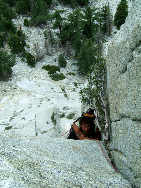 """We climbed <i>Whodunit 5.9</i> on Tahquitz Rock, a five-pitch route of rather sustained difficulty first climbed in 1957.  As the story goes, the first ascent party ran across a single piton pounded in a crack high on the route, and posed the question """"Whodunit?"""" as nobody was aware of a prior ascent, and a climb of this magnitude was really something at the time."""