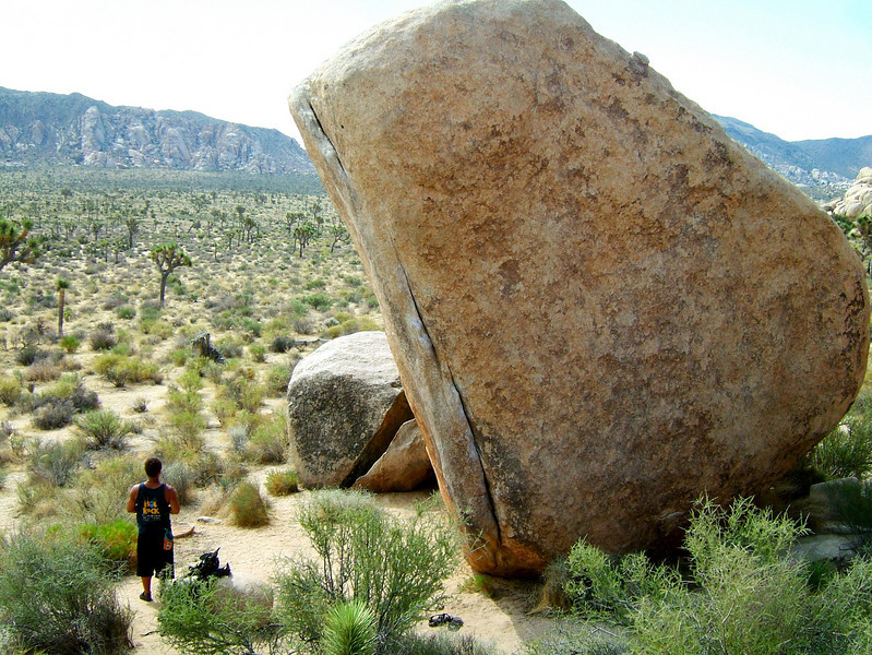 One morning spent in Joshua Tree, CA in the middle of the summer was quite enough.  We located the boulder problem <i>White Rastafarian V3R</i> and worked it a bit, and as temperatures rose over 100 and kept climbing, we left the place behind and kept moving.  We'd come back sometime when it was cooler.