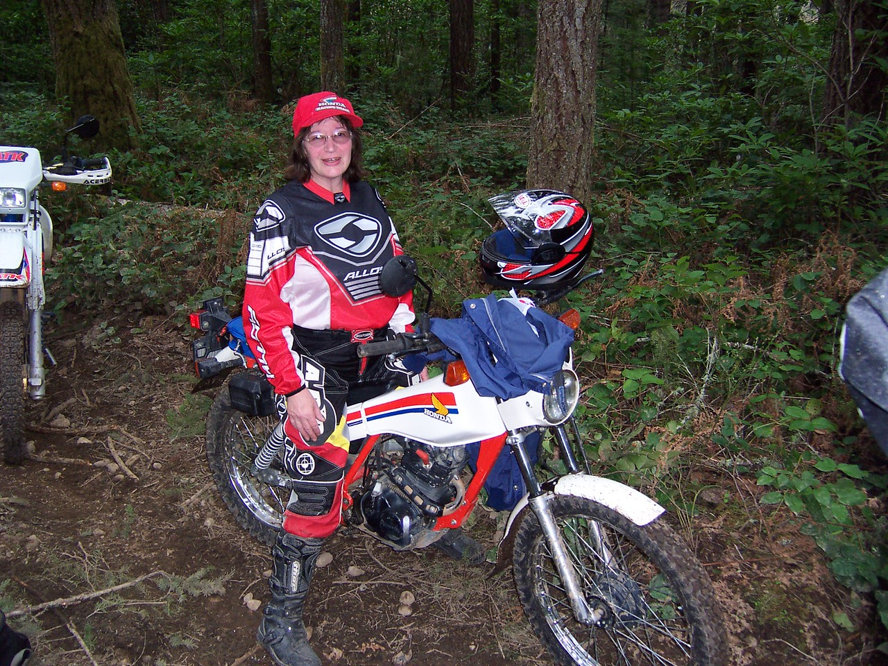SuperSyl on her little Honda trials bike. She was doing pretty good for 60 years old.