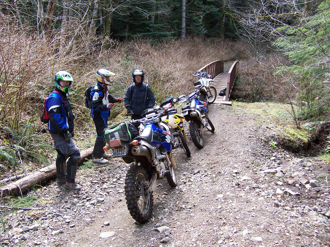 "Gold Creek Trail Bridge again. We are on the way out. Everyone went down at least once. I almost went over the handle bars, kissing the front fender. I'm getting to old for this. Andy says ""going down was easy""."