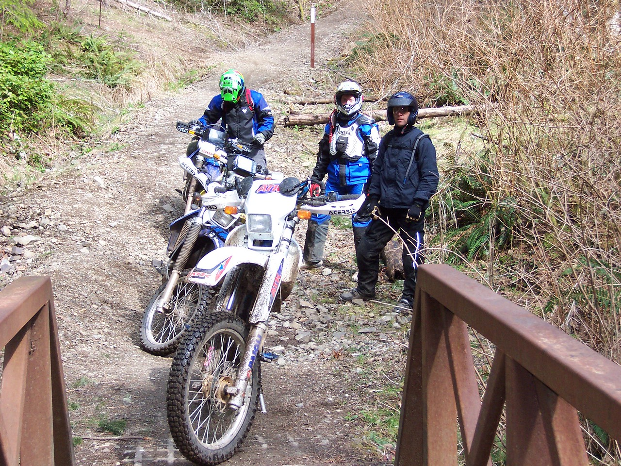 Bridge near the start of the Gold Creek trail. After here the fun begins. Randy, Andy, and Jeff.