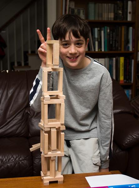 Benjamin builds a tower