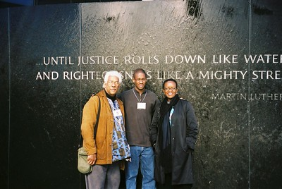Albert Raboteau, Garrett Brown, and Valerie Smith at Civil Rights Memorial - Bob Durkee