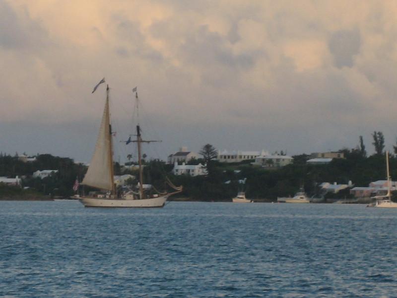 Bermuda sailing boat at dusk.