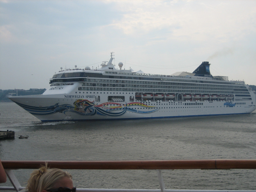 Waving good-bye to the OTHER cruise ship, The Norwegian Spirit.