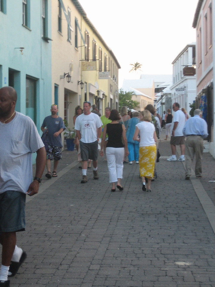 Walking on the cobblestone streets.