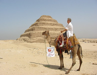 Saqqara with the banner - Sue and Bob Rodgers