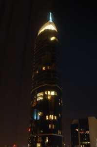 The Hilton at night.