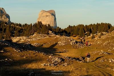 Entre Chaumailloux et le Jas Neuf Mont Aiguille au soleil couchant