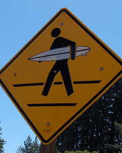 Pedestrian crossing sign on Highway 35 in Sky Londa, at Alice's Restaurant. No, it's not that close to the ocean