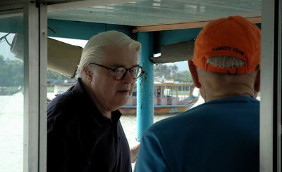 Bob Slighton and Ray Close chatting on Hue boat - Val Fitch