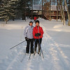 "JUDY KELLY & PAM READY TO ""HEAD-OUT"" ONTO THE LAKE CROSS-COUNTRY SKIING....THAT'S DICK KELLY STILL TRYING TO GET TO THE LAKE FROM THE CABIN..HE'S LOST!!     2/06  EAGAN'S LOG CABIN...ST GERMAIN, WI"