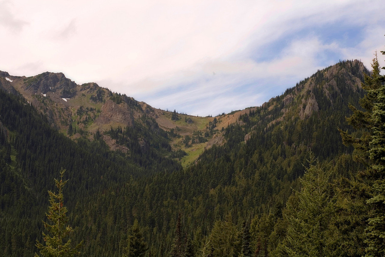 Looking up at Marmot Pass