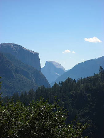 Half Dome on the drive down into the Valley