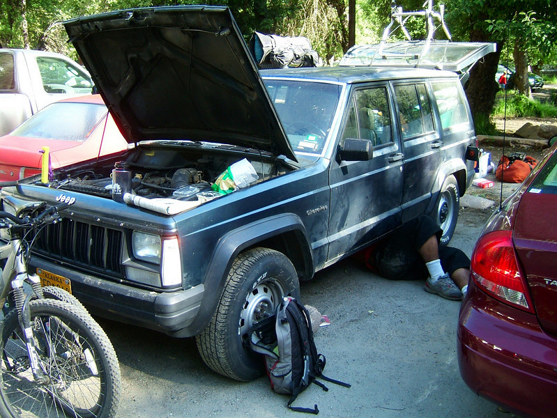 When we pulled in and parked in Yosemite, the jeep wouldn't start again.  Unperturbed, we commenced climbing and dealt with the car troubles later.  Kelsey changed out the fuel pump in the parking lot at Curry Village.